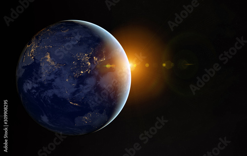Fototapeta View of planet Earth at night with cities lights on Asia 3D rendering elements o