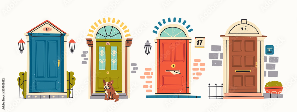 Fototapeta Set of four retro vintage Front Doors. Brick wall. Lamp on a wall. Windows. Sitting bulldog. House Exterior. Home Entrance. Hand drawn colored vector illustration. Isolated on a white background