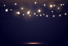 Magic Lights On Night Dark Blu...