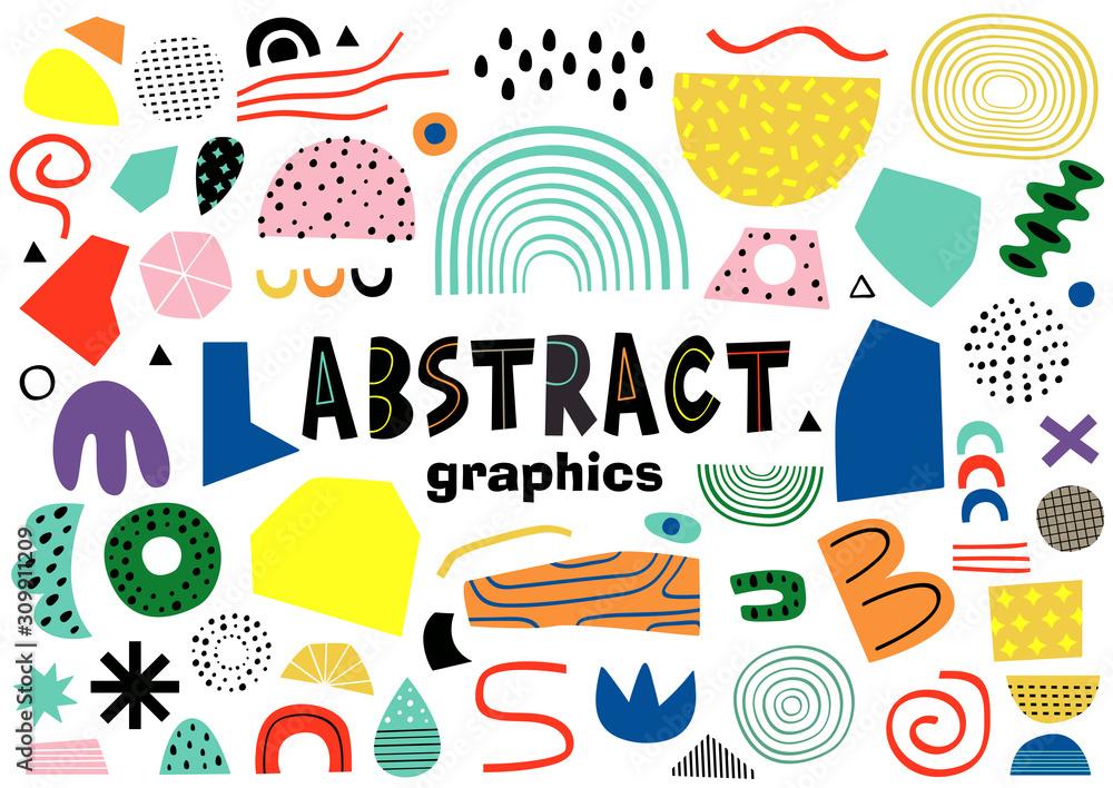 Fototapeta set of isolated abstract elements    - vector illustration, eps