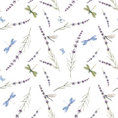 FototapetaWatercolor seamless pattern with colorful dragonflies and lavanda flowers. Stock illustration. White background.