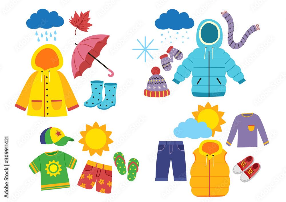 Fototapeta set of children's season clothes - vector illustration, eps