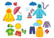 set of children's season clothes - vector illustration, eps
