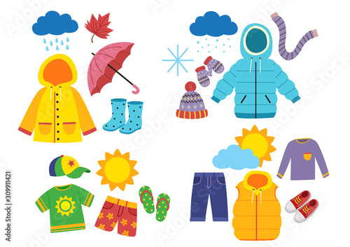 Obraz set of children's season clothes - vector illustration, eps     - fototapety do salonu