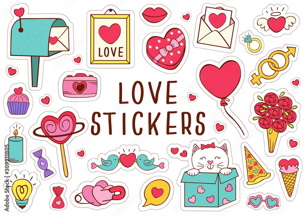 Fototapeta set of isolated love stickers part 2 - vector illustration, eps