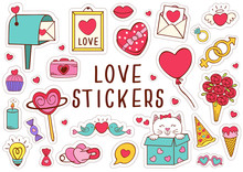 Set Of Isolated Love Stickers Part 2 - Vector Illustration, Eps