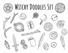Witchy Doodles Set. Collection...