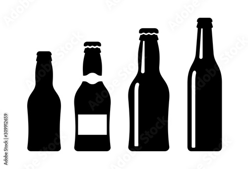 Tela Beer bottle vector icon set