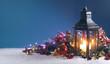 Leinwanddruck Bild - Lantern and christmas decoration