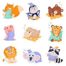 Cute Cartoon Animals Sleeping ...