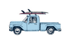 Hand Drawn Pickup Car With Surfboards On A Roof