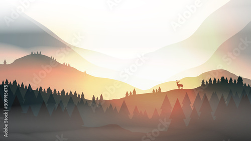 Sunset or Dawn Over Mountains with Stag on Hill Top Pine Forest Landscape - Vect фототапет