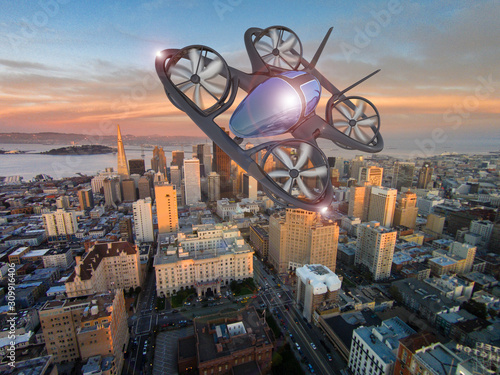Obraz Flying Car, Future Air Car 3d Concept, Futuristic Vehicle In The City,  Car Concept - 3D Rendering - fototapety do salonu