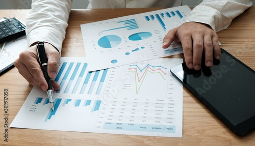 Auditor or internal revenue service staff, Business women checking annual financial statements of company Wallpaper Mural