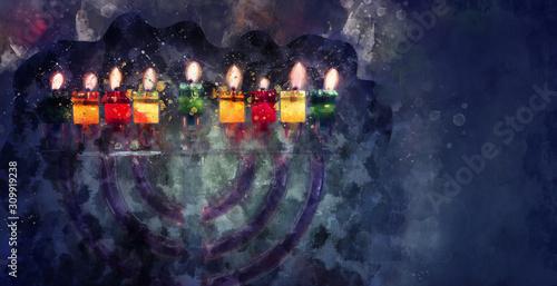 Fototapeta watercolor style and abstract image of jewish holiday Hanukkah with menorah (traditional candelabra) obraz