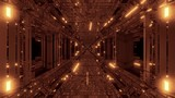 Fototapeta Fototapety przestrzenne i panoramiczne - realistic futuristic sci-fi tunnel corridor with glas windows and glowing flying particles 3d illustration wallpaper background