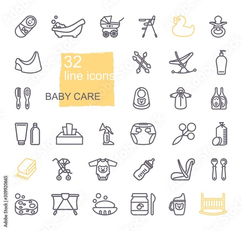Linear icons on the theme of child care Tablou Canvas