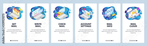 Fototapeta Mobile app onboarding screens. Business emails, write and send message, cloud service. Menu vector banner template for website and mobile development. Web site design flat illustration obraz
