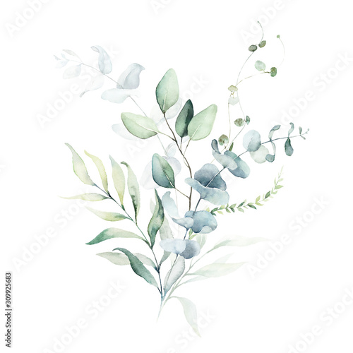 Obraz Watercolor floral illustration bouquet - green leaf branch collection, for wedding stationary, greetings, wallpapers, fashion, background. Eucalyptus, olive, green leaves, etc. - fototapety do salonu