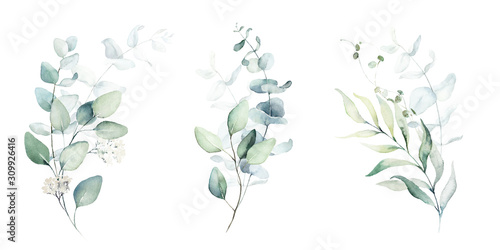 Watercolor floral illustration set - green leaf branches collection, for wedding stationary, greetings, wallpapers, fashion, background Canvas Print