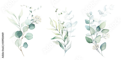 Obraz Watercolor floral illustration set - green leaf branches collection, for wedding stationary, greetings, wallpapers, fashion, background. Eucalyptus, olive, green leaves, etc. - fototapety do salonu