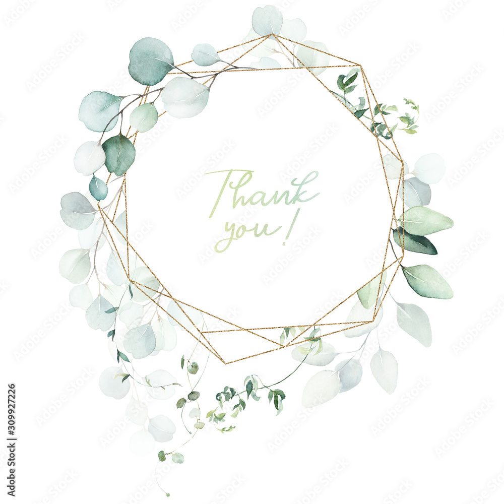 Fototapeta Watercolor floral illustration - leaves and branches wreath / frame with gold geometric shape, for wedding stationary, greetings, wallpapers, fashion, background. Eucalyptus, olive, green leaves, etc.