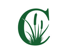 Letter C With Reeds Grass Logo Vector 001