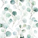 Bezszwowe akwarela kwiatowy wzór - kompozycja zielonych liści i gałęzi na białym tle, idealne na opakowania, tapety, pocztówki, kartki okolicznościowe, zaproszenia ślubne, romantyczne wydarzenia. - 309927417