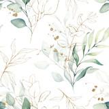 Bezszwowe akwarela kwiatowy wzór - zielone i złote liście, kompozycja gałęzi na białym tle, idealne na opakowania, tapety, pocztówki, kartki z życzeniami, zaproszenia ślubne, romantyczne wydarzenia. - 309927465