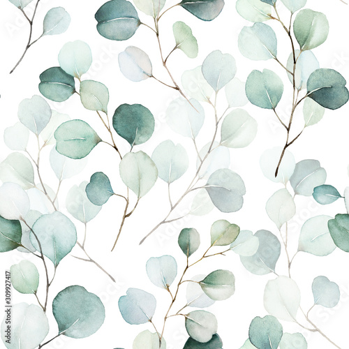 Seamless watercolor floral pattern - green leaves and branches composition on white background, perfect for wrappers, wallpapers, postcards, greeting cards, wedding invitations, romantic events.