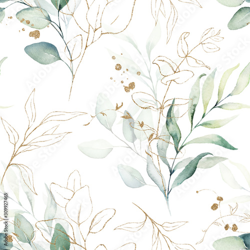 seamless-watercolor-floral-pattern-green-gold-leaves-branches-composition-on-white-background
