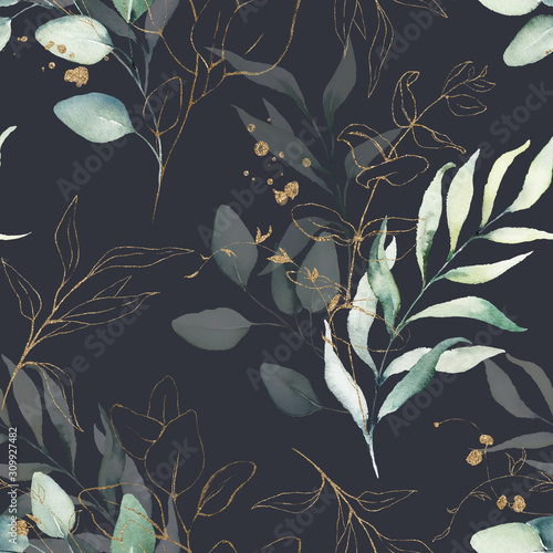 Seamless watercolor floral pattern - green & gold leaves, branches compositio...