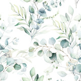 Fototapeta Kwiaty - Seamless watercolor floral pattern - green leaves and branches composition on white background, perfect for wrappers, wallpapers, postcards, greeting cards, wedding invitations, romantic events.