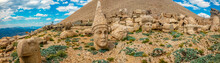 Panoramic View Of Some Of The Statues Near The Peak Of Nemrut Dagi. King Antiochus I Theos Of Commagene Built On The Mountain Top Of Mount Nemrut A Tomb-sanctuary Flanked By Huge Statues. Turkey