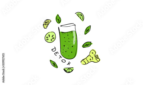 Fotografía vector illustration of detox smoothie
