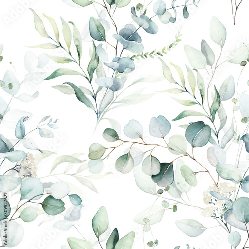 Obraz Seamless watercolor floral pattern - green leaves and branches composition on white background, perfect for wrappers, wallpapers, postcards, greeting cards, wedding invitations, romantic events. - fototapety do salonu