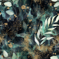 Fototapeta Grunge Seamless pattern. Floral branch on gold, dark, navy, purple, emerald, green and turquoise watercolor texture design. Rough brush stroke. Illustration. Liquid, water, fluid, cloud, abstract background.