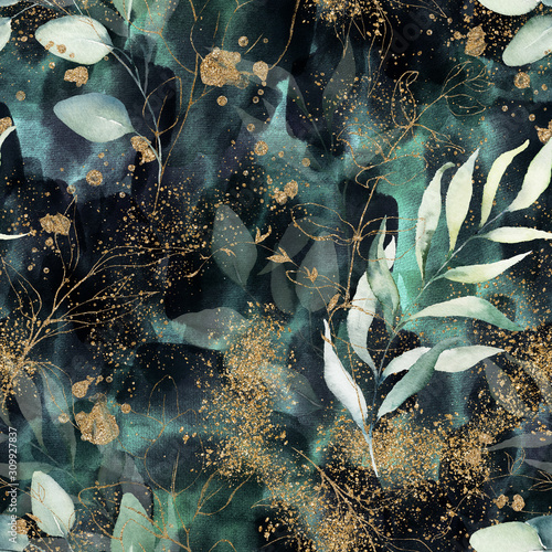 Tapeta zielona  seamless-pattern-floral-branch-on-gold-dark-navy-purple-emerald-green-and-turquoise-watercolor-texture-design-rough-brush-stroke-illustration-liquid-water-fluid-cloud-abstract-background