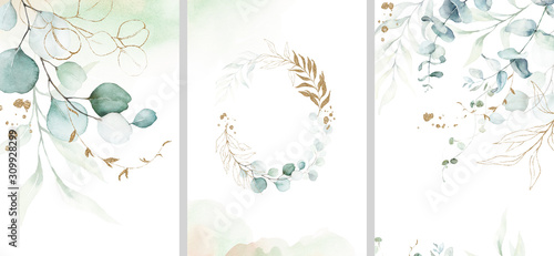 Fototapeta Pre made templates collection, frame - cards with gold and green leaf branches. Wedding ornament concept. Floral poster, invite. Decorative greeting card, invitation design background, birthday party. obraz