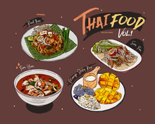 Thai Food Collection, Hand Dra...