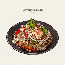 Spicy Vermicelli Salad, Hand D...
