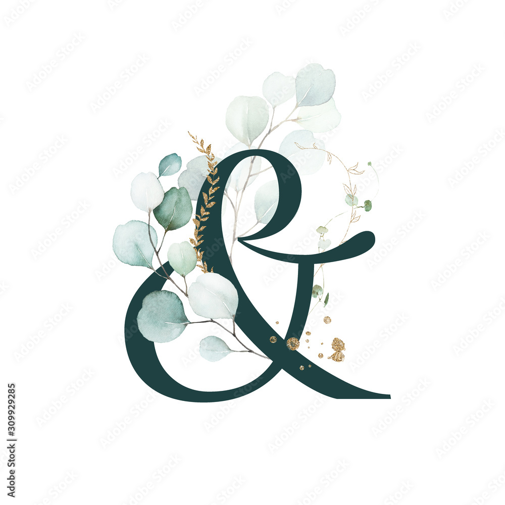 Dark Green Floral Alphabet -ampersand & with gold and green botanic branch bouquet composition. Unique collection for wedding invites decoration, birthdays & other concept ideas.