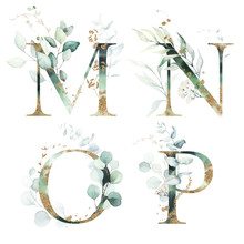 Gold Green Floral Alphabet Set...