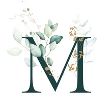 Dark Green Floral Alphabet - L...