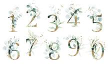 Gold Green Floral Number Set -...
