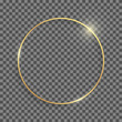 Golden shiny round frame with shadows and highlights isolated on a transparent background.