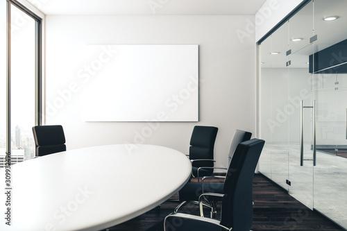 Obraz Conference room with empty poster - fototapety do salonu