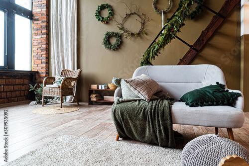 cozy living room with modern sofa Fototapet