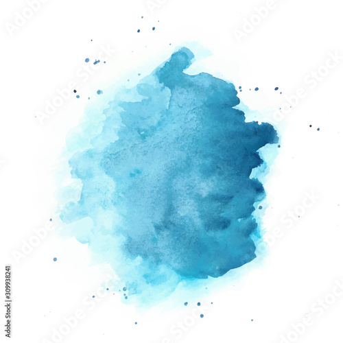 Photo Blue Watercolor Vector Background. Round Stain Isolated on White.