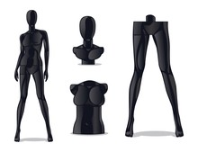 Plastic Female Mannequin. Woman Model Doll For Fashion Store. Isolated Black Girl Dummy For Clothes Vector Set